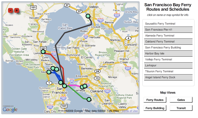 SF Bay Area Ferry routes, schedules and walkshed map – Trillium